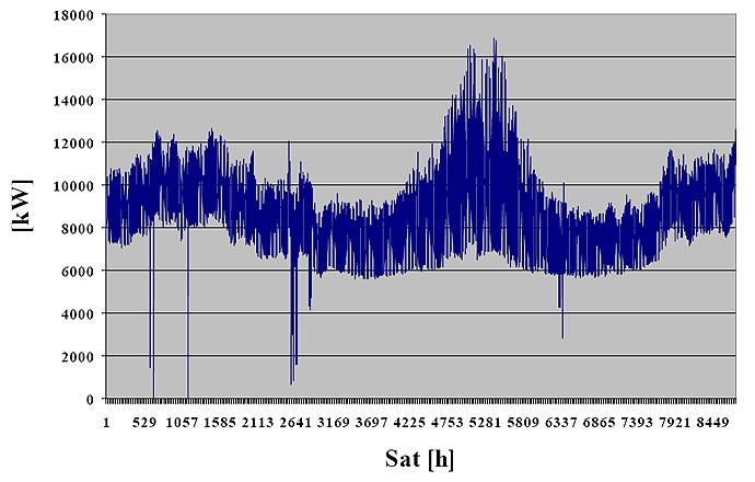 Satna potrošnja električne energije za 2005. godinu