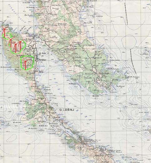 Topografska karta s potencijalno pogodnim lokacijama za vjetroagregate